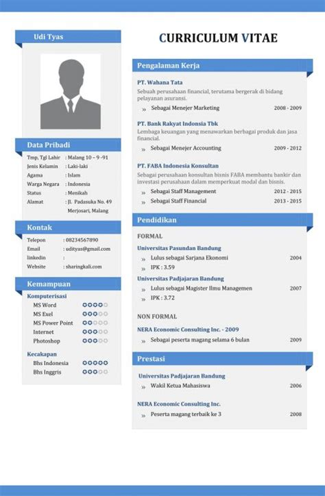Contoh Cv Menarik by Contoh Cv Surat Lamaran Kerja Yang Menarik Bagi Perusahaan