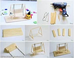 Diy miniature swing for fairy garden manualidades for Homemade miniature furniture