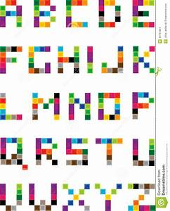 set of bright mosaic letters stock illustration With letter squares