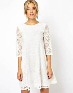 asos swing dress in lace with half sleeve in beige cream With robe blanche asos