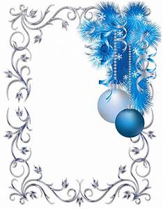 Silver, And, Blue, Ornament, Christmas, Frame