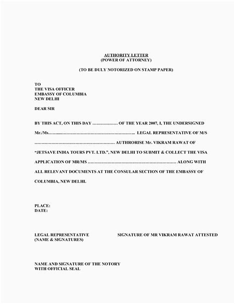 general power  attorney letter template collection