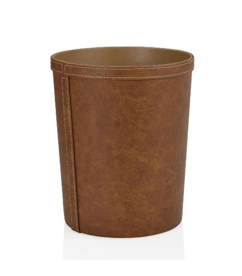 corbeille de bureau corbeille à papier de bureau ronde similicuir marron vintage