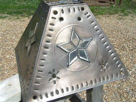 punched tin l shades western l shade metal tin punch glass star southwestern