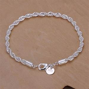 Women Bracelets Silver Plated Twist Charm Chain Bangle ...