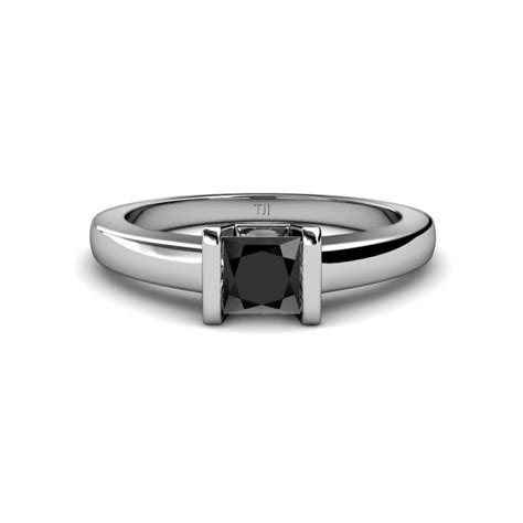 black diamond princess cut channel set solitaire ring