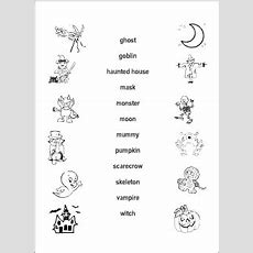 Halloween Vocabulary For Kids Learning English  Matching Game