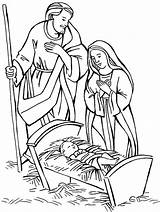 Jesus Coloring Nativity Pages Christmas Manger Birth Scene Born Mary Drawing Colouring Manager Adore Shepherd Sheets Shepherds Visit Joseph Colour sketch template