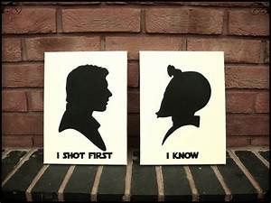 Star Wars Wall Art Stencil on Canvas - Han Shot First and ...