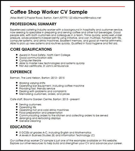 How To Right A Cv Template by Coffee Shop Worker Cv Sle Myperfectcv