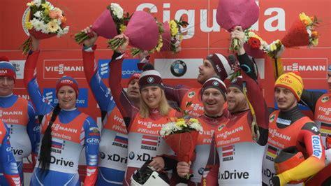 Latvijas kamaniņu sportisti Siguldā triumfē Pasaules kausa ...