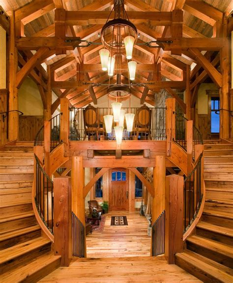 log cabin stairs staircase rustic with cedar flooring