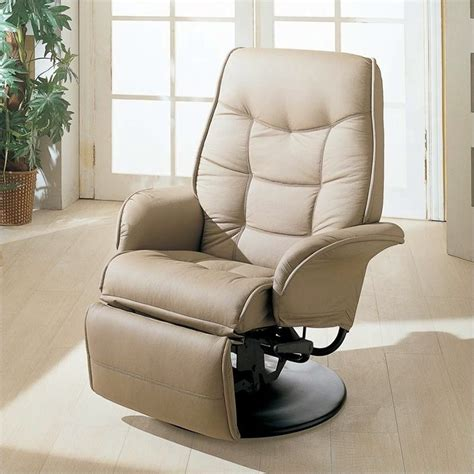 furniture leatherette swivel recliner chair in bone finish