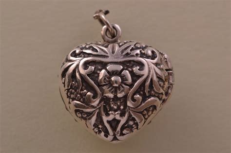 silver modern opening heart locket   amethyst