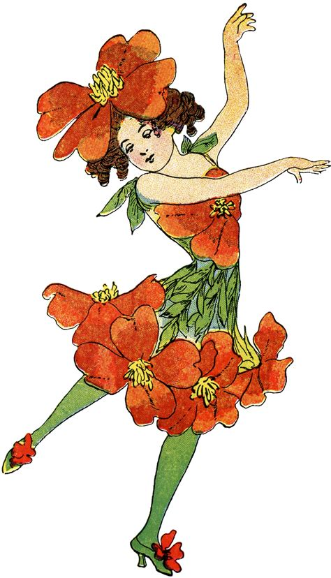 vintage flower fairy image primrose  graphics fairy