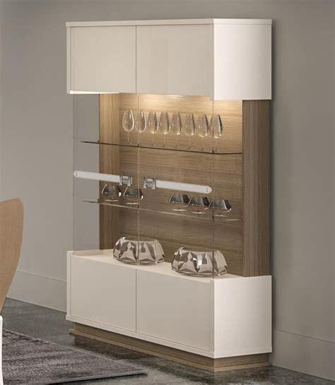 evolution modern  door display cabinet  ivorywalnut