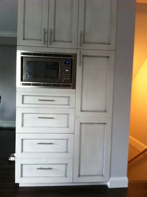 built in microwave cabinet custom pantry with built in microwave and antique brushed