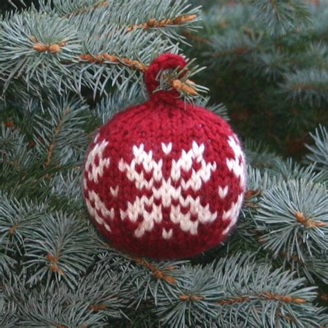 free knitting pattern two strands christmas ball two