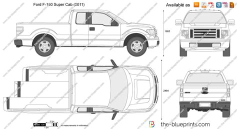 Ford F-150 Super Cab Vector Drawing