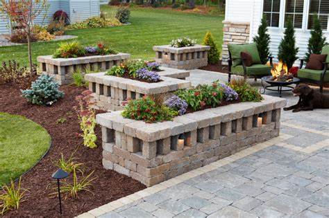 Brick Planters Designs by New Heights Raised Planters With Concrete Paver Courtyard