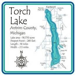 Torch Lake Laser Etched Paddle - Antrim - MI - 36 inch