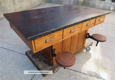 kitchen island maple vintage oak wood chemistry lab school table kitchen 1948