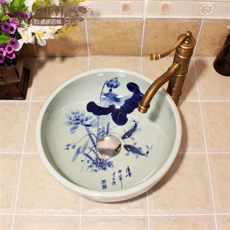 hand painted bathroom sinks dia 35cm small size hand painted fish lotus design