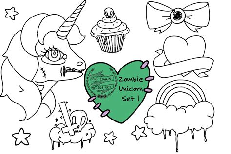 hand drawn vector art zombie unicorn set  cute creepy