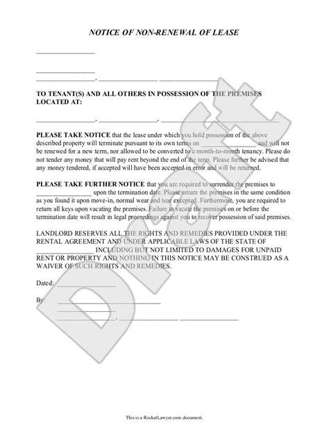 landlords notice   renewal  lease  tenants