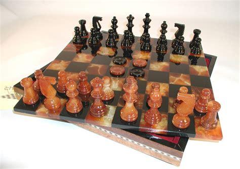 black brown alabaster chess sets