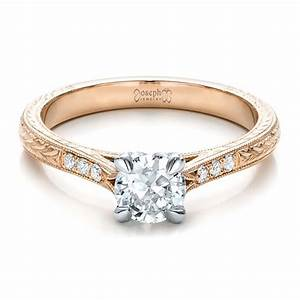 custom rose gold and white gold diamond engagement ring With wedding rings gold and white gold