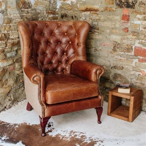 Buy Leather Armchair by Buy Vintage Leather Tweed Chesterfield Armchair Button