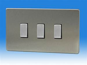 Varilight 3 Gang 1 Or 2 Way 10 Amp Switch On A Double Plate Dimension Screwless Brushed Steel