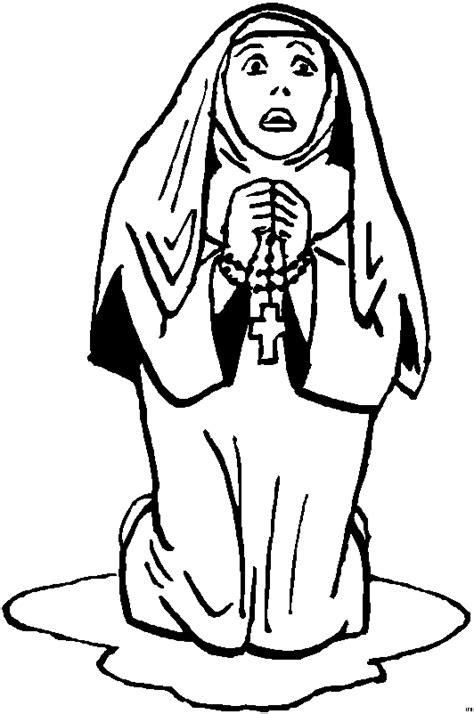 nonne betet rosenkranz ausmalbild malvorlage religion