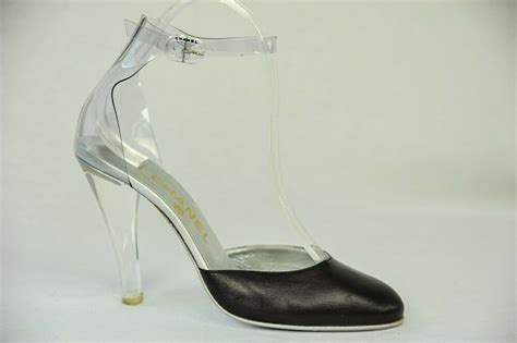 Chanel Womens Black Clear Lucite Ankle Strap High Heel