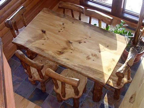 made rustic pine log diningroom table and chairs by