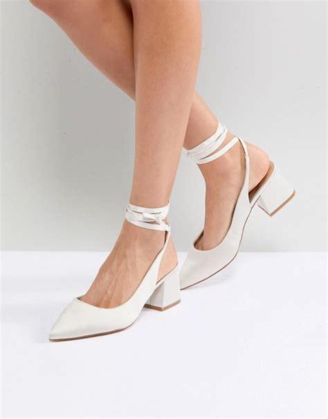 Scarpe da sposa 2021 d' argento con piattaforma scarpe da sposa a tacchi alti a punt aperta con strass slip on. ASOS - SWEETHEART - Scarpe da sposa a punta con tacco   ASOS