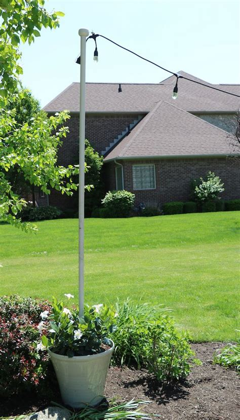 enbrighten cafe lights diy light pole planter outdoor