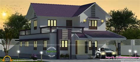 purple colored  sq ft sloping roof house kerala home design bloglovin