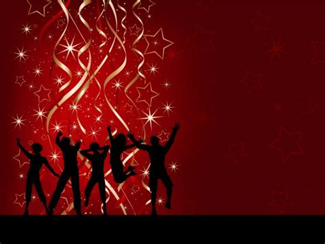 Party Silhouettes On Red Christmas Background Vector