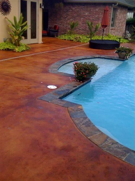 stained concrete pool deck i think this color is pinto by