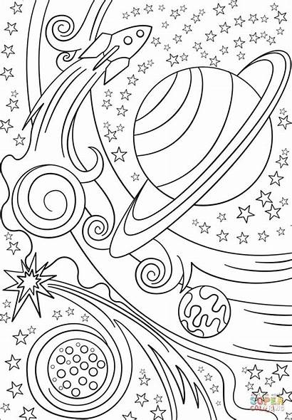 Coloring Space Pages Printable Trippy Planets Planet