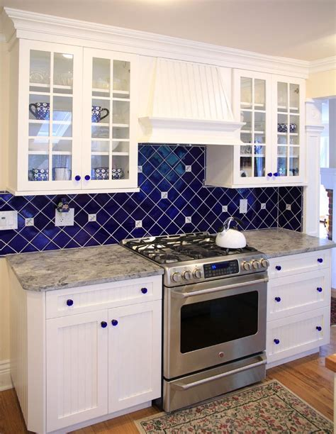 blue glass backsplash kitchen traditional  mosaic tile