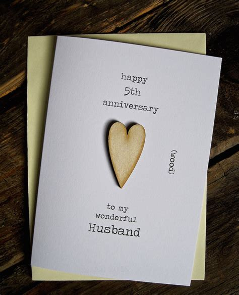 5th Wedding Anniversary Card Wood Traditional Keepaske Gift