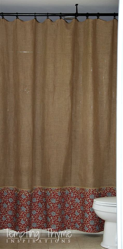 {no Sew} Burlap Shower Curtain  Tempting Thyme