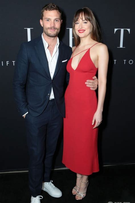 dakota johnson red party dress fifty shades freed la