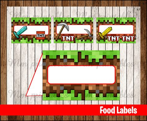 sale minecraft food tent cards instant
