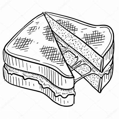 Sandwich Cheese Grilled Sketch Illustration Vector Drawing