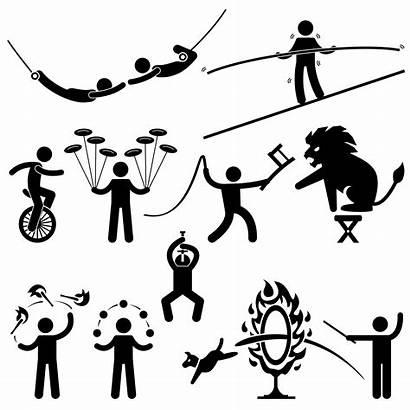 Stick Figure Acrobat Circus Animal Icon Stunt