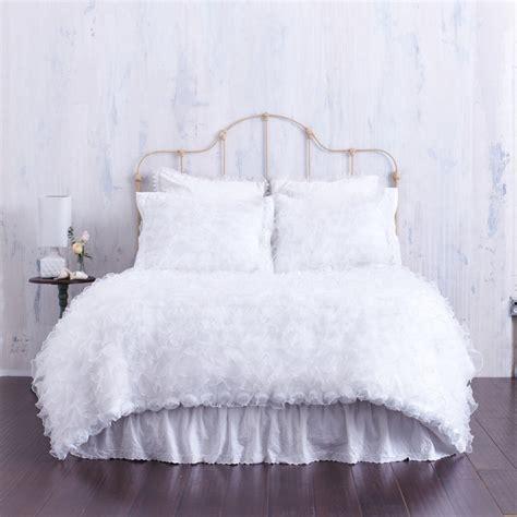 shabby chic chenille bedding white ruffled duvet cover with rosette trim chenille top shabby chic bedroom los angeles